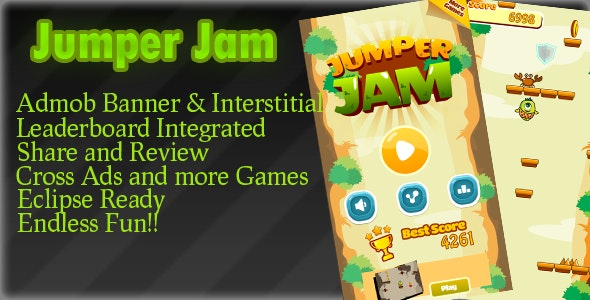 Jumper JAM Admob + Leaderboard +Powerups+Endless - CodeCanyon Item for Sale