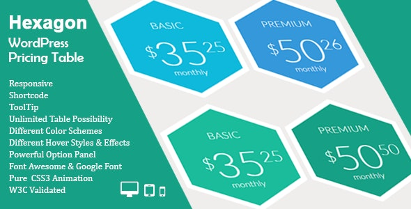 Hexagon WordPress Pricing Table - CodeCanyon Item for Sale