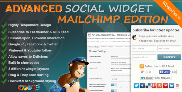 Advanced Social Widget MailChimp Edition - CodeCanyon Item for Sale