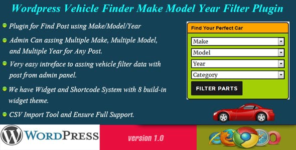 Wordpress Vehicle Finder - Make/Model/Year