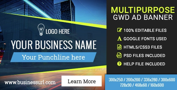 GWD | Multipurpose Business HTML5 Banners - 07 Sizes - CodeCanyon Item for Sale