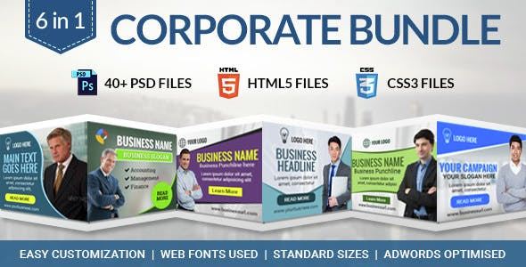Corporate Bundle - 6 in 1 HTML5 Ad Banner Templates
