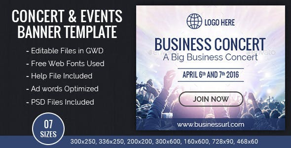 GWD |  Business Concert & Events HTML5 Banners - 07 Sizes