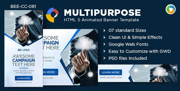 HTML5 Multipurpose Banners - GWD - 7 Sizes