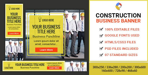 GWD | Construction Business HTML5 Banners - 07 Sizes