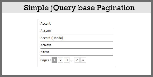 Simple Ajax Based Pagination