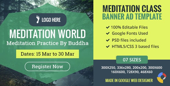 GWD | Meditation Classes HTML5 Banners - 07 Sizes - CodeCanyon Item for Sale