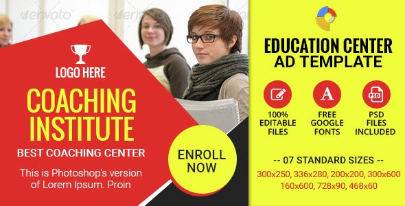 GWD | Education Institute HTML5 Ad Banners - 07 Sizes - CodeCanyon Item for Sale
