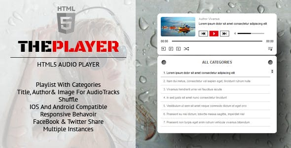 ThePlayer - HTML5 Audio Player Responsive Plugin with Playlist and Categories
