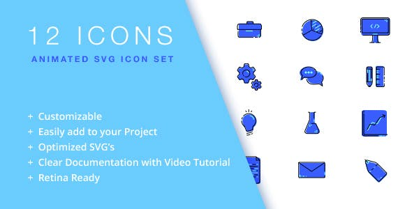 12 Animated Business/Creative SVG Icons