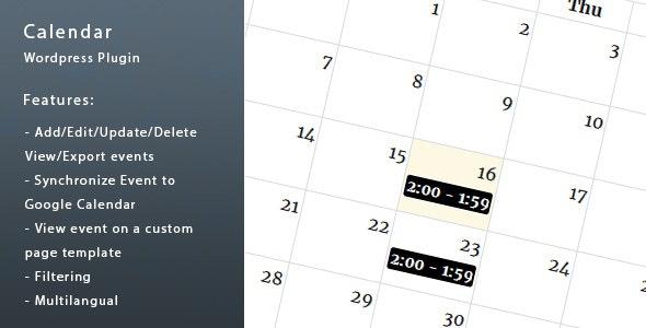Wordpress Calendar - CodeCanyon Item for Sale
