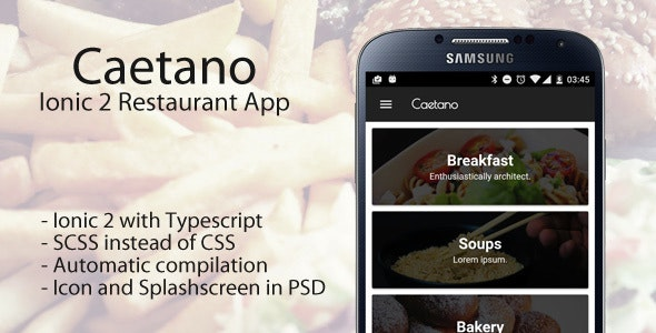 Caetano - Ionic 2 Restaurant App - CodeCanyon Item for Sale