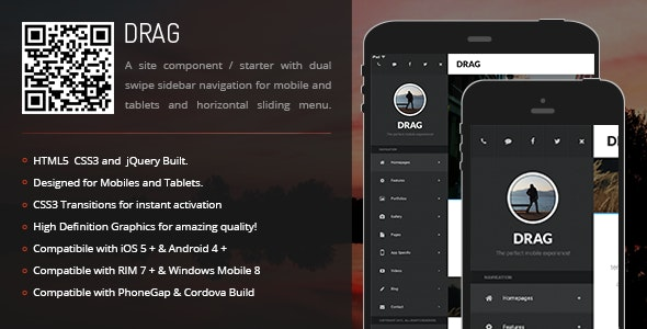 Drag | Sidebar Menu for Mobiles & Tablets - CodeCanyon Item for Sale