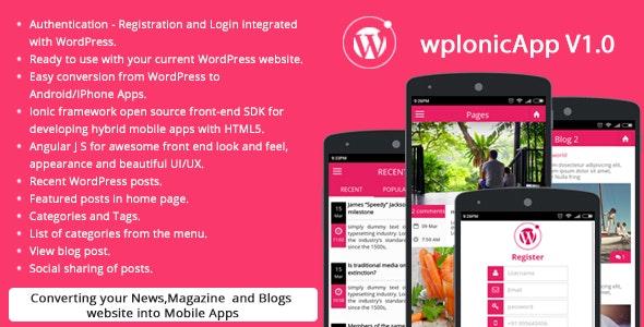 Ionic Wordpress RESTAPI (wpIonicApp V1.0) -  News / Magazine / Blogs - CodeCanyon Item for Sale