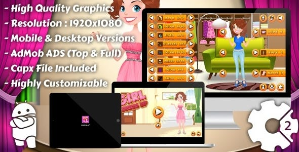 Girl Dress Up - HTML5 Game, Mobile Version+AdMob!!! (Construct 3 | Construct 2 | Capx)