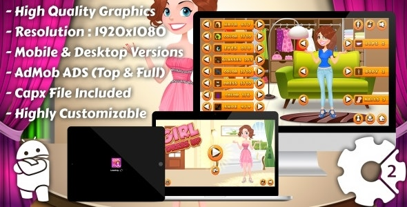 Girl Dress Up - HTML5 Game, Mobile Version+AdMob!!! (Construct 3 | Construct 2 | Capx) - CodeCanyon Item for Sale