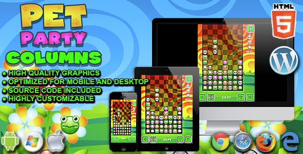 Pet Party Columns - HTML5 Matching Game