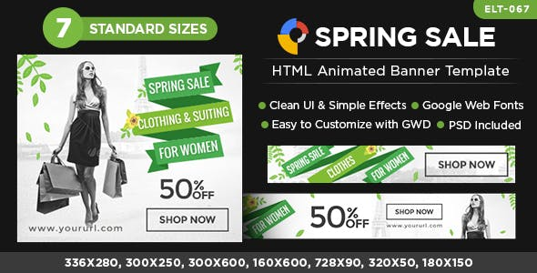 HTML5 Spring Sale Banners - GWD - 7 Sizes