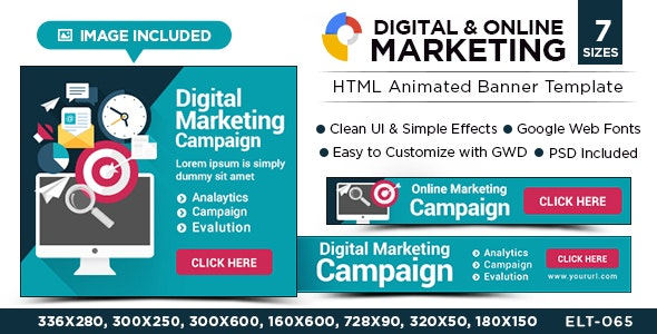 HTML5 Digital & Online Marketing Banners - GWD - 7 Sizes by Hyov