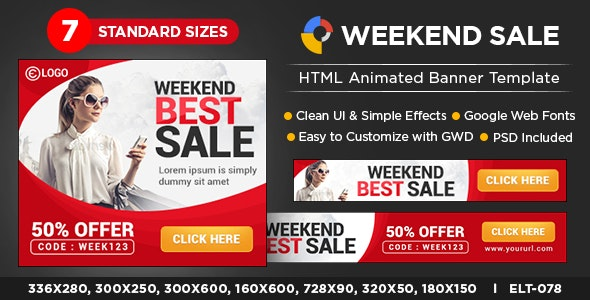 HTML5 Weekend sale Banners - GWD - 7 Sizes - CodeCanyon Item for Sale