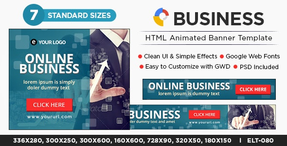 HTML5 Business Banners - GWD - 7 Sizes - CodeCanyon Item for Sale