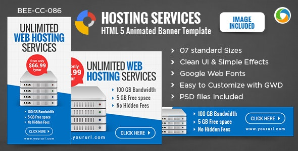 HTML5 Hosting Banners - GWD - 7 Sizes - CodeCanyon Item for Sale