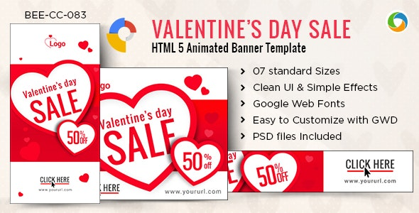 HTML5 Valentine Day Banners - GWD - 7 Sizes - CodeCanyon Item for Sale