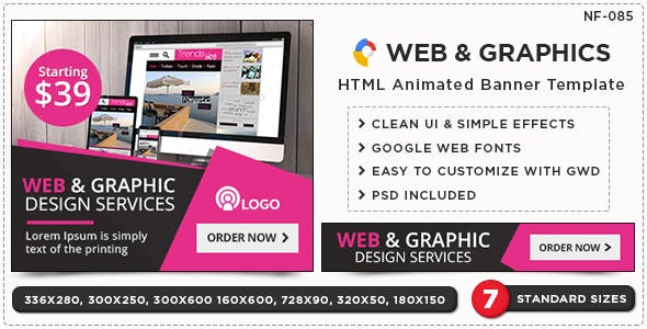 HTML5 Web Design Service Banners - GWD - 7 Sizes