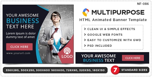HTML5 Multipurpose Banners - GWD - 7 Sizes - CodeCanyon Item for Sale