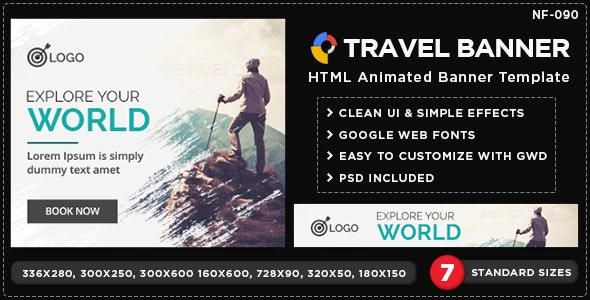 HTML5 Travel Banners - GWD - 7 Sizes - CodeCanyon Item for Sale