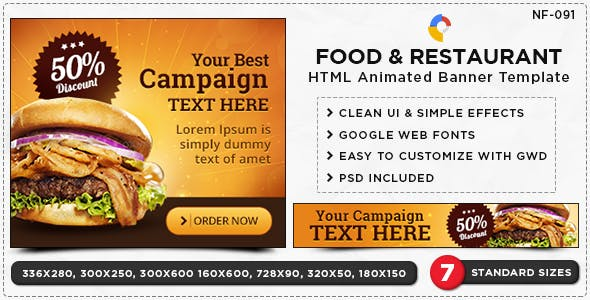 HTML5 Restaurant Banners - GWD - 7 Sizes
