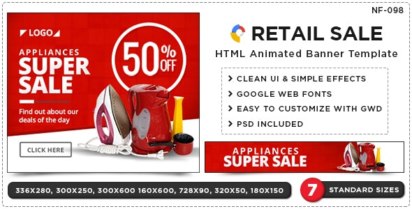 HTML5 Retail Sale Banners - GWD - 7 Sizes - CodeCanyon Item for Sale