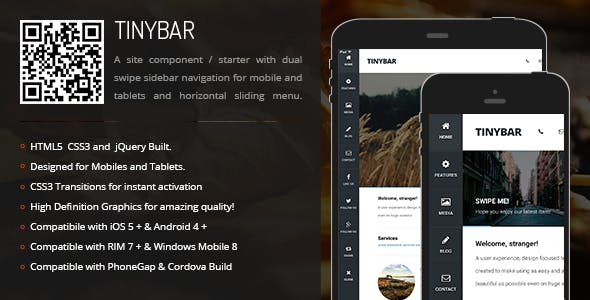 TinyBar | Sidebar Menu for Mobiles & Tablets