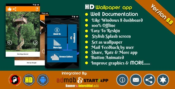 HD wallpaper app with Admob and Startapp