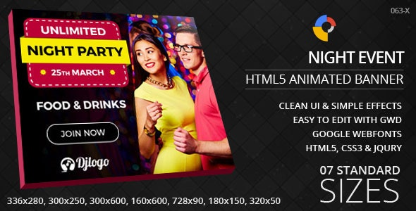 Night Party - HTML5 ad banners - CodeCanyon Item for Sale