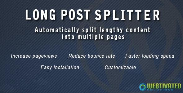 WordPress Long Post Splitter - CodeCanyon Item for Sale