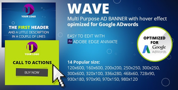 HTML5 Animated Banner Templates | «WAVE banner»  | Edge Animate - CodeCanyon Item for Sale