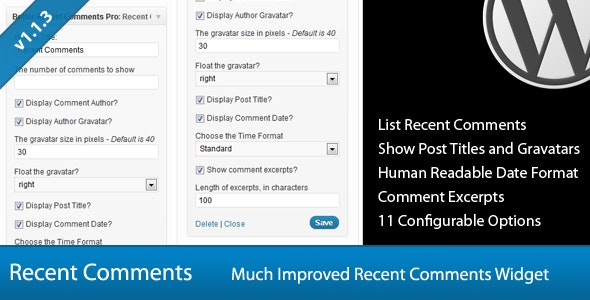 Better Recent Comments Widget Pro - CodeCanyon Item for Sale