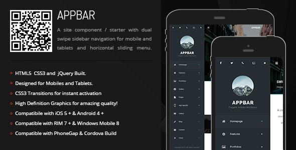 AppBar | Sidebar Menu for Mobiles & Tablets