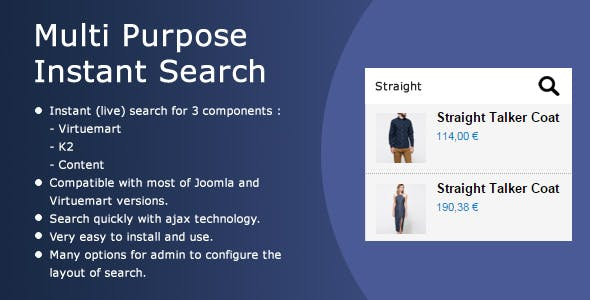 Multi Purpose Ajax Search (for Virtuemart, K2, Content)
