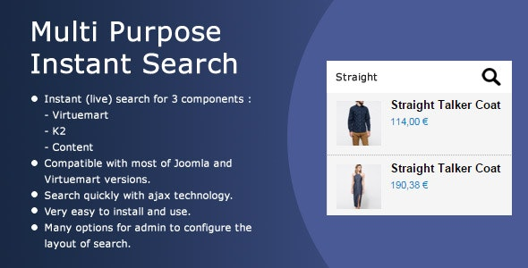 Multi Purpose Ajax Search (for Virtuemart, K2, Content) - CodeCanyon Item for Sale