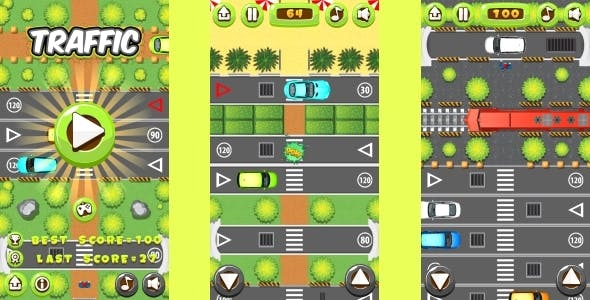 Traffic - HTML5 Game, Mobile Version+AdMob!!! (Construct 3 | Construct 2 | Capx)