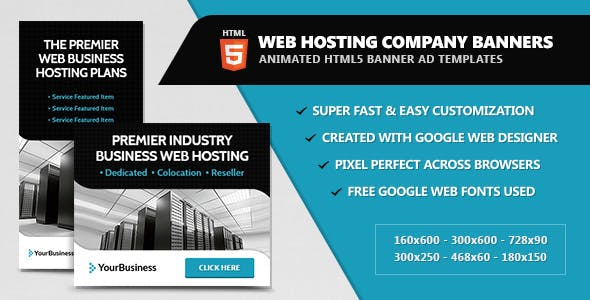 Web Hosting Company Banners - HTML5 Animated
