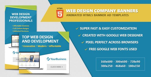 Web Design Company Banners - HTML5 Animated