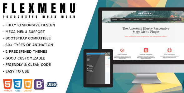 FlexMenu - jQuery Mega Menu for Bootstrap