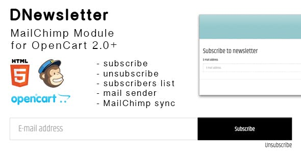 DNewsletter MailChimp Extensions - Compatible with OpenCart 2.0+