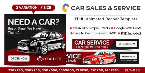 HTML5 Car Dealership Banners - GWD - 7 Sizes - CodeCanyon Item for Sale