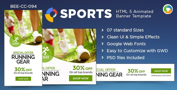 HTML5 Sports Banners - GWD - 7 Sizes - CodeCanyon Item for Sale