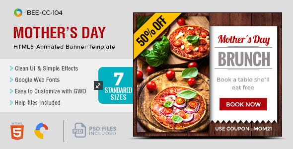 HTML5 Mothers Day Banners- GWD - 7 Sizes