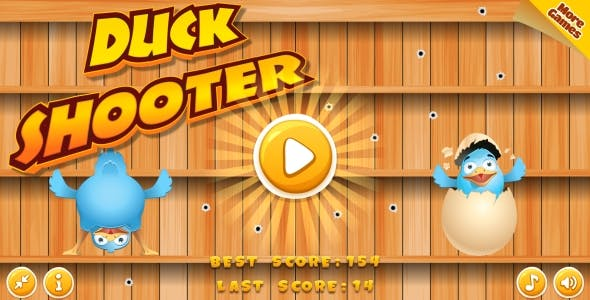 Duck Shooter - HTML5 Game, Mobile Version+AdMob!!! (Construct 3 | Construct 2 | Capx)